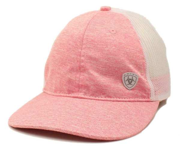 Ariat Women's Heathered Pink & White Mesh Messy Bun Ball Cap A300007130