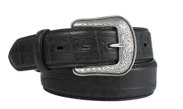 "Men's Black 1 1/2"" Gator Print Belt 1680 D1680"