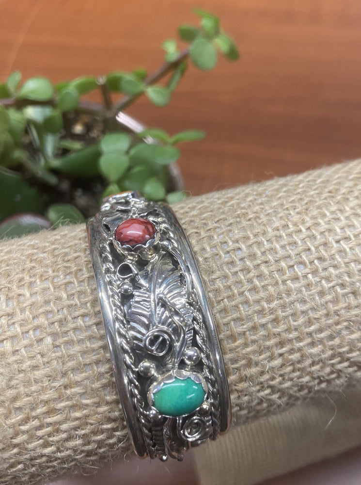 Thunderbird Jewelry Sterling Silver Five Multi-Colored Stones Cuff Bracelet BRN704X