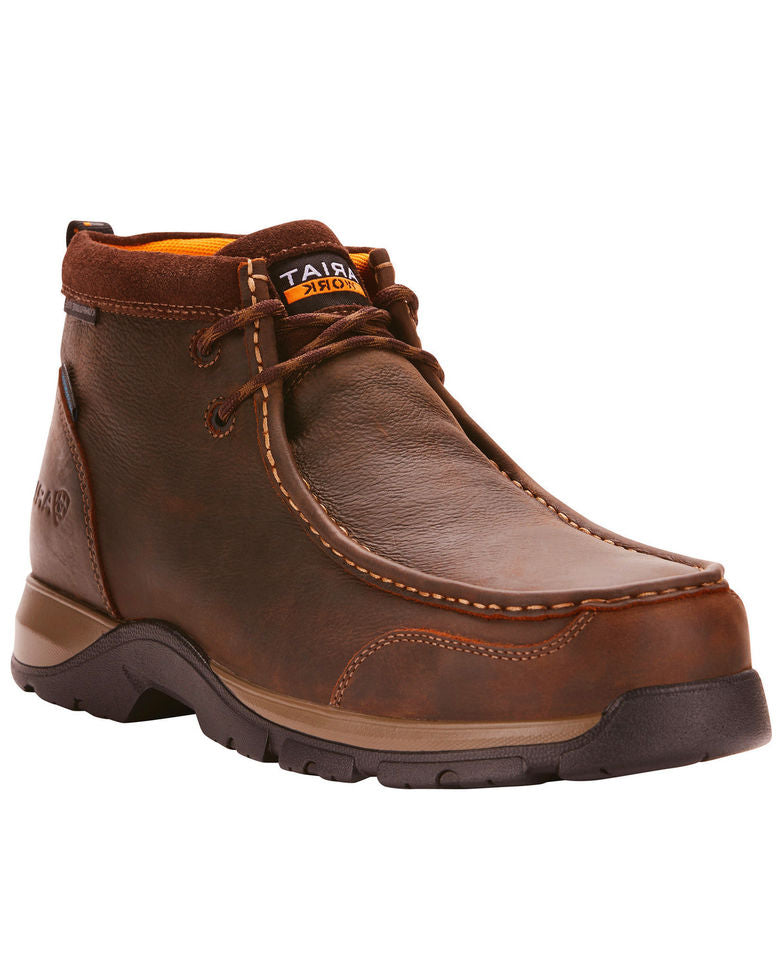 Ariat Men's Edge Dark Brown Lite Waterproof Lace Up Safety Toe Moc 10024956