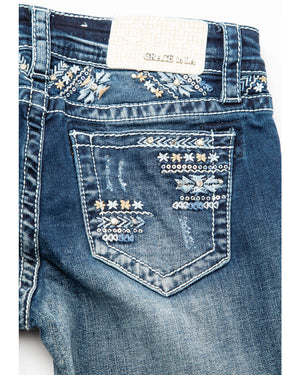 Load image into Gallery viewer, Grace in LA Girls Floral Embroidered Bootcut Jeans GB-81332