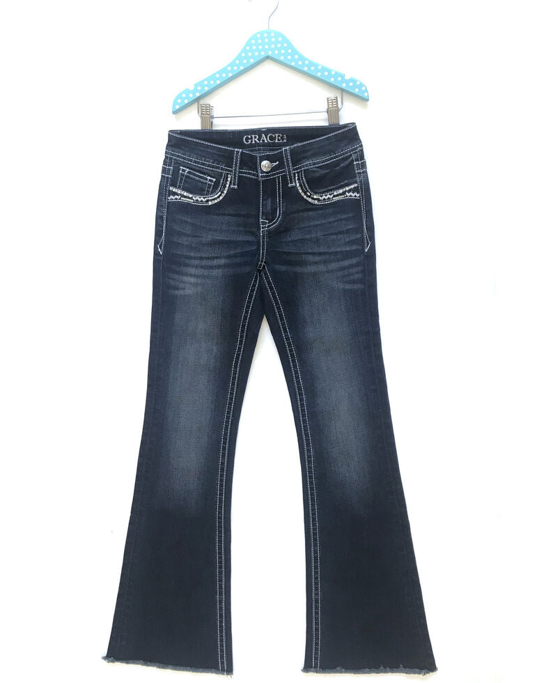 Grace In LA Girl's Mid Rise Feather Design Dark Wash Bootcut Jean GB-S393