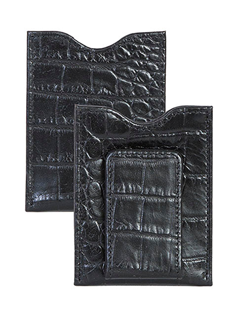 Scully Black Leather Croc Print Money Clip 21