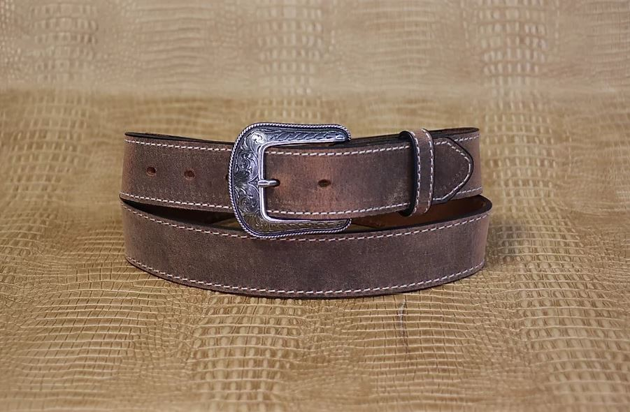 Allegheny Leather Men's Brown Distressed Leather Belt 2114