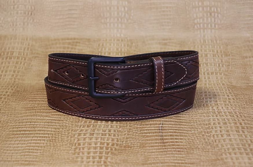 Allegheny Leather Men's Brown Aztec Stamped Leather Belt 2282