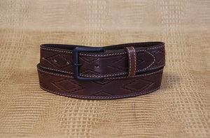 Allegheny Leather Men's Brown Aztec Stamped Leather Belt 2282 - Painted Cowgirl Western Store