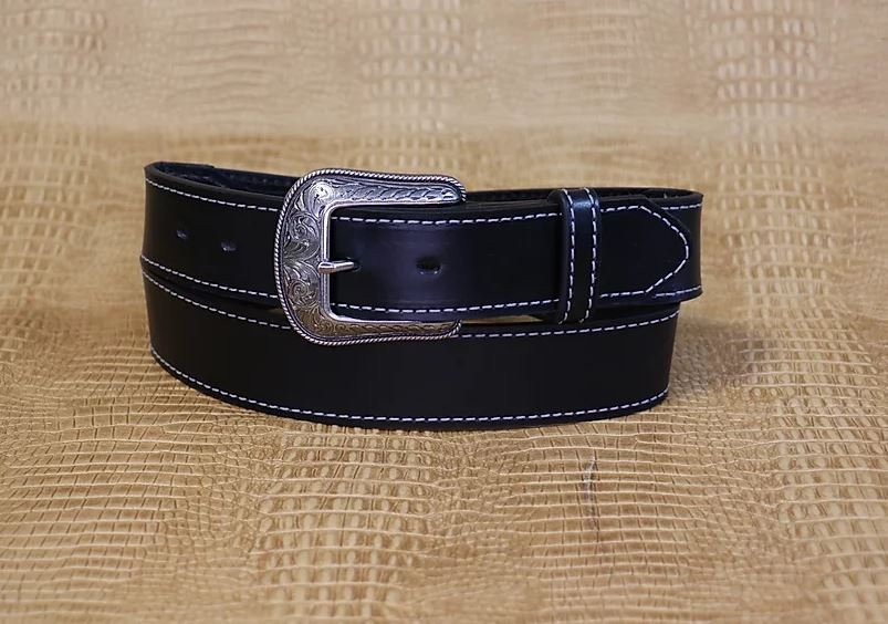 Allegheny Leather Men's Black Leather Belt 2330