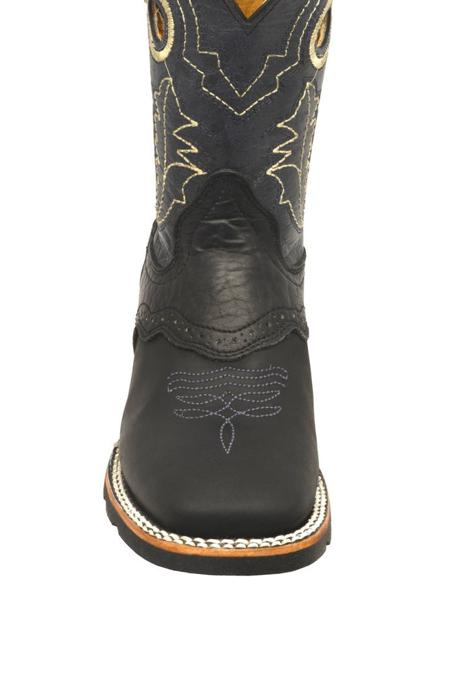 Redhawk Boy's Rodeo Bull Black Square Toe Western Boots 3001