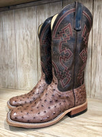 Anderson Bean Men's Rum Brown & Chocolate Ostrich Square Toe Boots 3086M