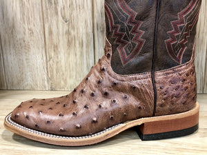 Anderson Bean Men's Rum Brown & Chocolate Ostrich Square Toe Boots 3086M - Painted Cowgirl Western Store