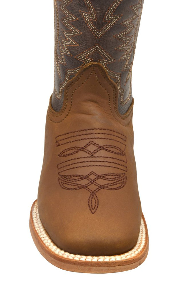 Redhawk Boy's Rodeo Coffee Brown Square Toe Western Boots 3103