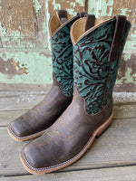 Anderson Bean Ladies Capachino & Turquoise/Copper Tooled Western Boots 324774