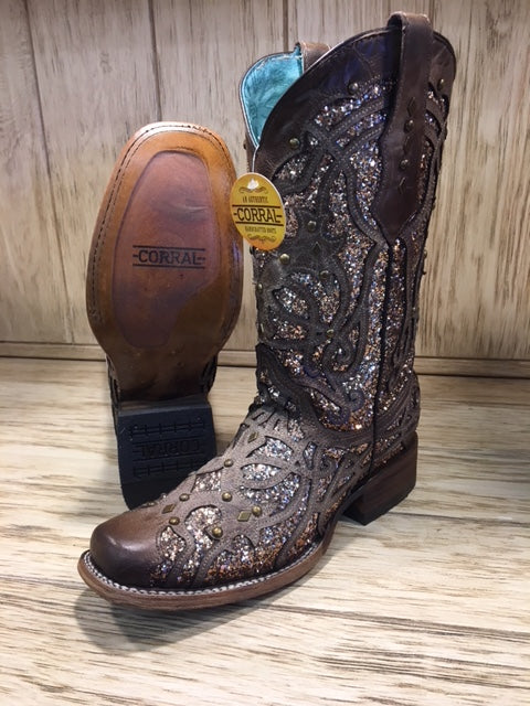 Corral Womens Orix Glitter Inlay Studs Cowgirl Boot Brown