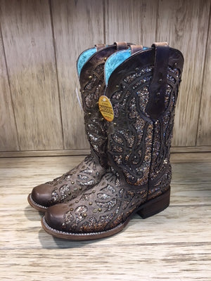 Corral Women's Orix Brown Glittered Inlay & Studs Square Toe Boots C3275 - Painted Cowgirl Western Store