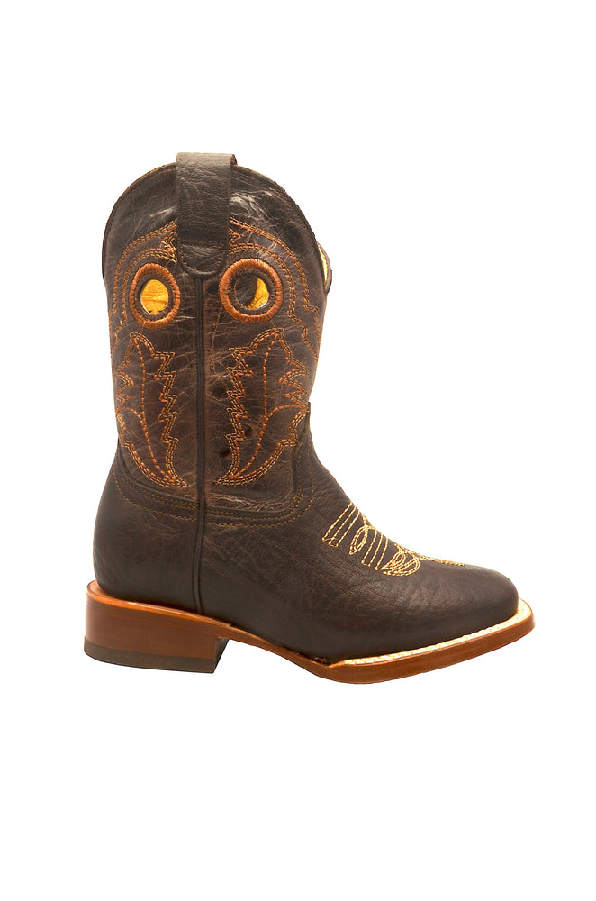 Redhawk Boy's Rodeo Bull Mocha Square Toe Western Boots 3400