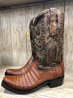 Corral Men's Caiman Honey Fuscus Inlay Narrow Square Toe Western Boots A3470