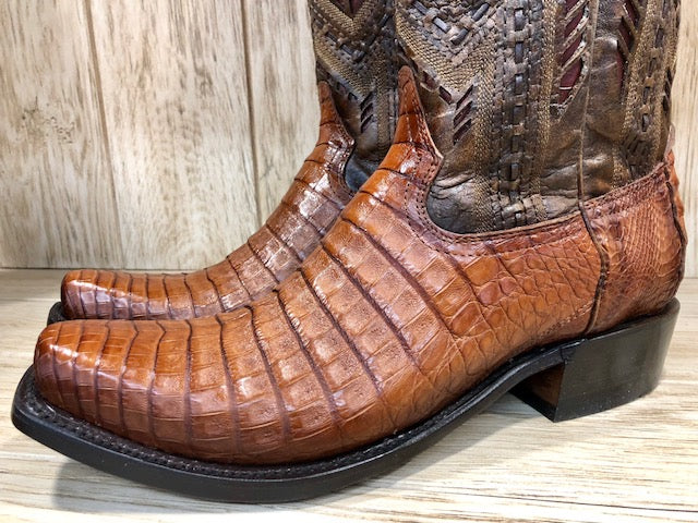 Corral Men's Caiman Honey Fuscus Inlay Narrow Square Toe Western Boots A3470 - Painted Cowgirl Western Store