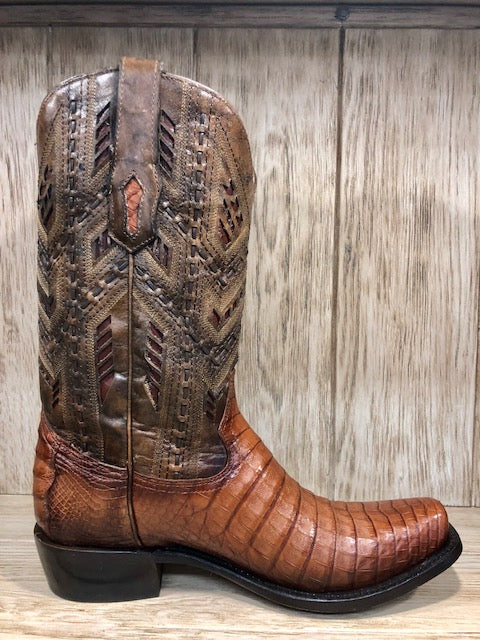 Load image into Gallery viewer, Corral Men's Caiman Honey Fuscus Inlay Narrow Square Toe Western Boots A3470