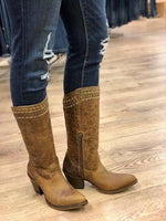 Corral Women's Brown Woven Snip Toe Western Boots Q5046