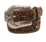 Ariat Girl's Brown & Turquoise With Floral Overlay Western Belt A1304027