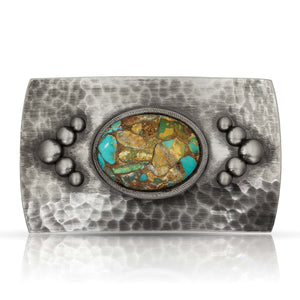 Montana Silversmiths River Rock Cascade Turquoise Belt Buckle 40407NBB-CT - Painted Cowgirl Western Store