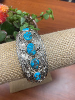 Thunderbird Jewelry Sterling Silver Turquoise 5 Stone Intricate Thick Cuff Bracelet BRN872T