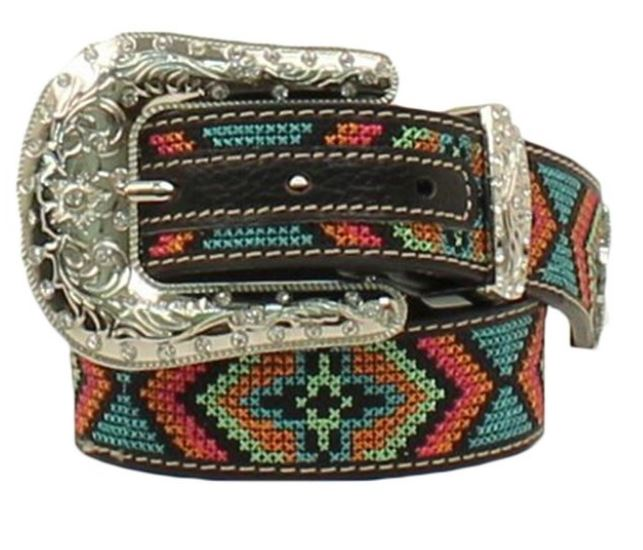 Nocona Girl's Colorful Design Stitched Western Belt N4436801 - Painted Cowgirl Western Store