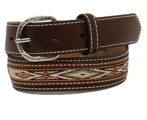 Nocona Boy's Colorful Stitched & Brown Leather Western Belt N4437002