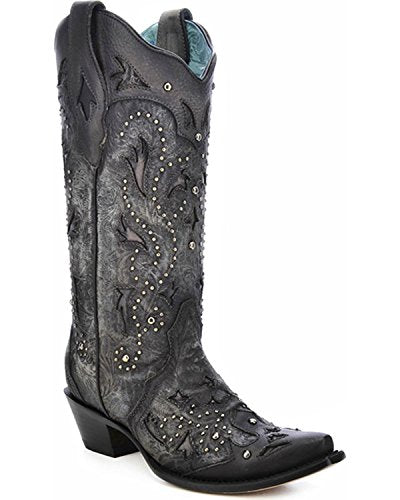 Corral Women's Black Embossed Studded Snip Toe Western Boots C3043 - Painted Cowgirl Western Store