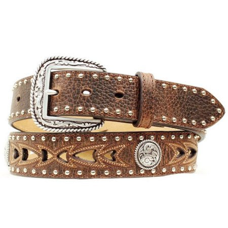 Ariat Men's Brown Cutout & Concho Leather Belt A1015202