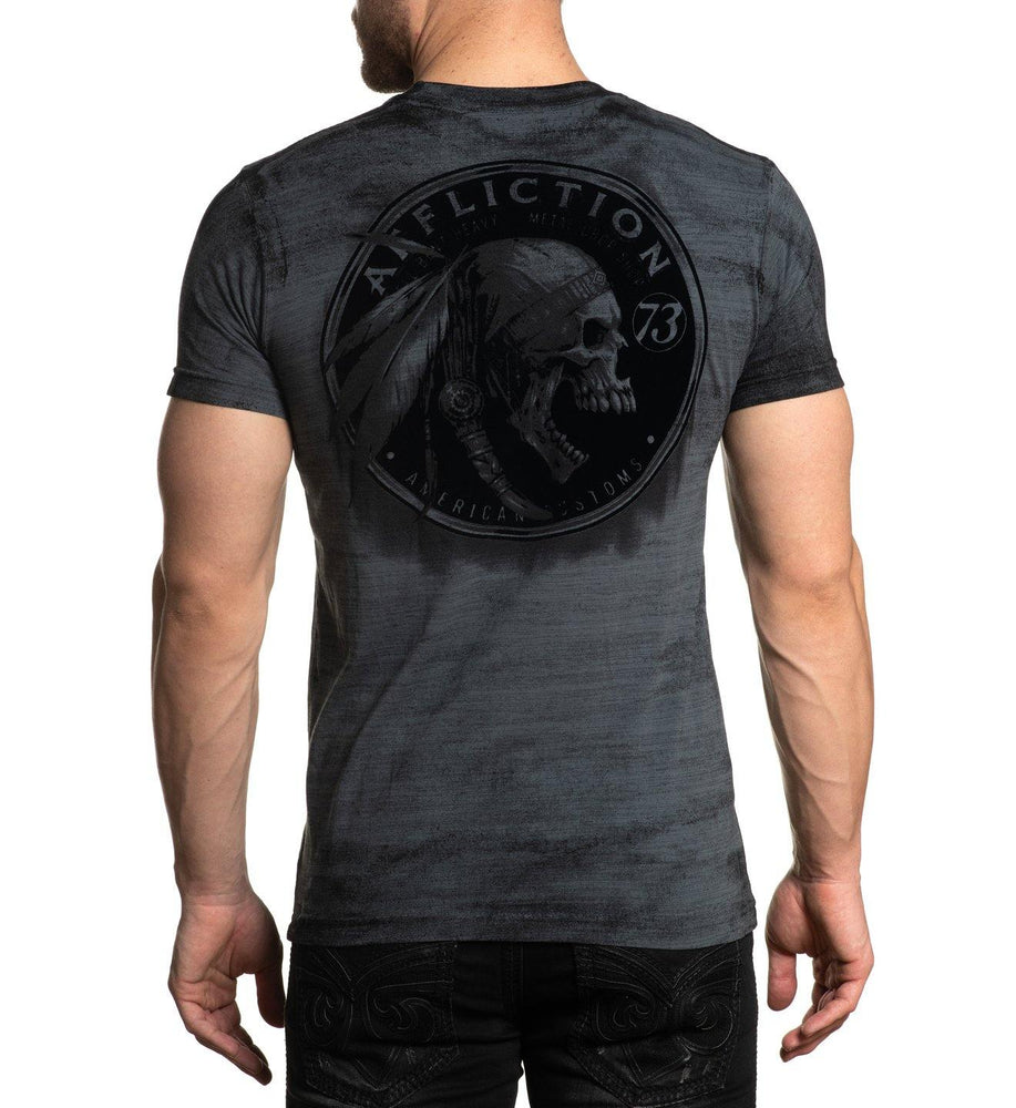 Affliction Men's Apache Garage Charcoal Grey Short Sleeve Shirt A22331 - Painted Cowgirl Western Store