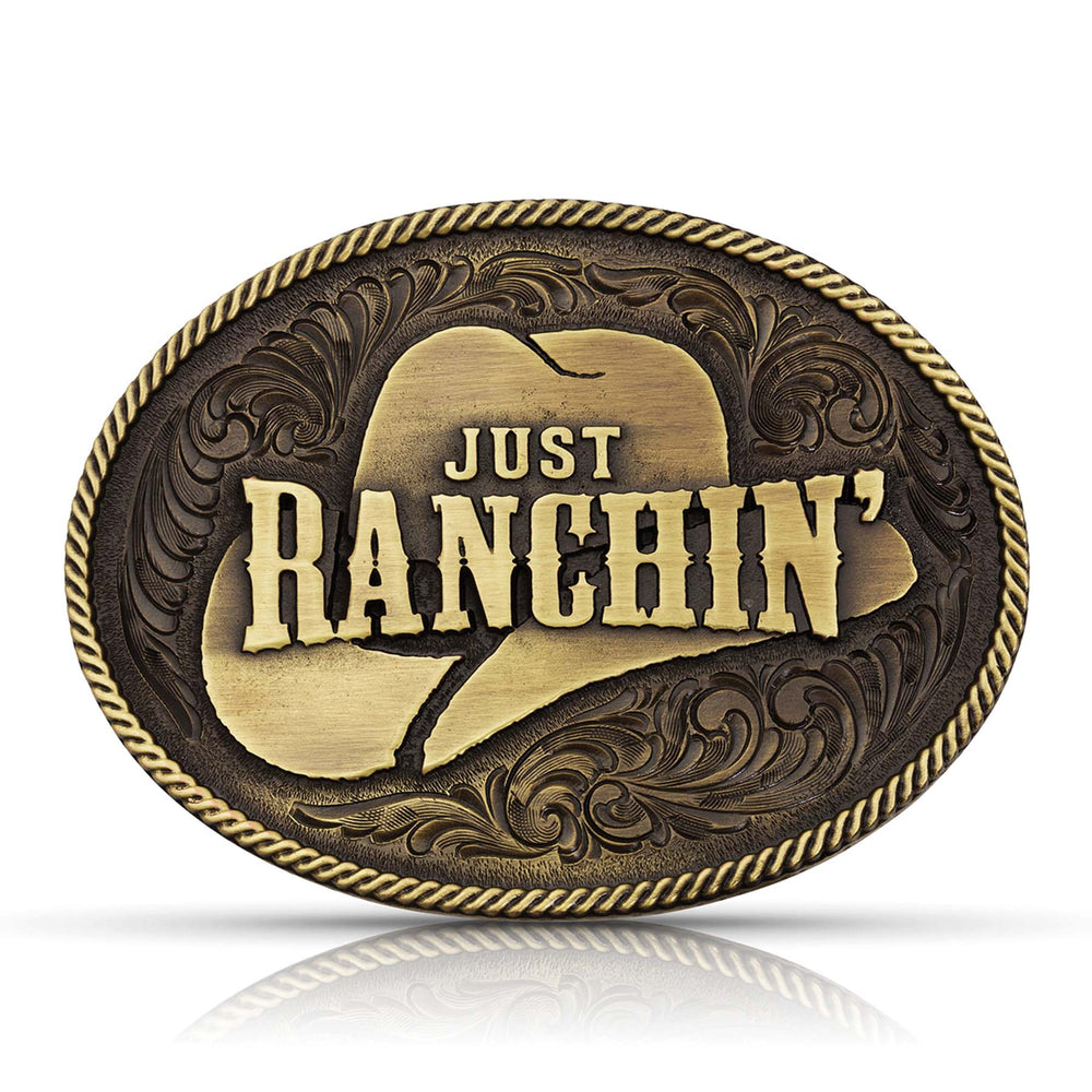 Montana Silversmiths Attitude Dale Brisby Just Ranchin' Belt Buckle A805DBC