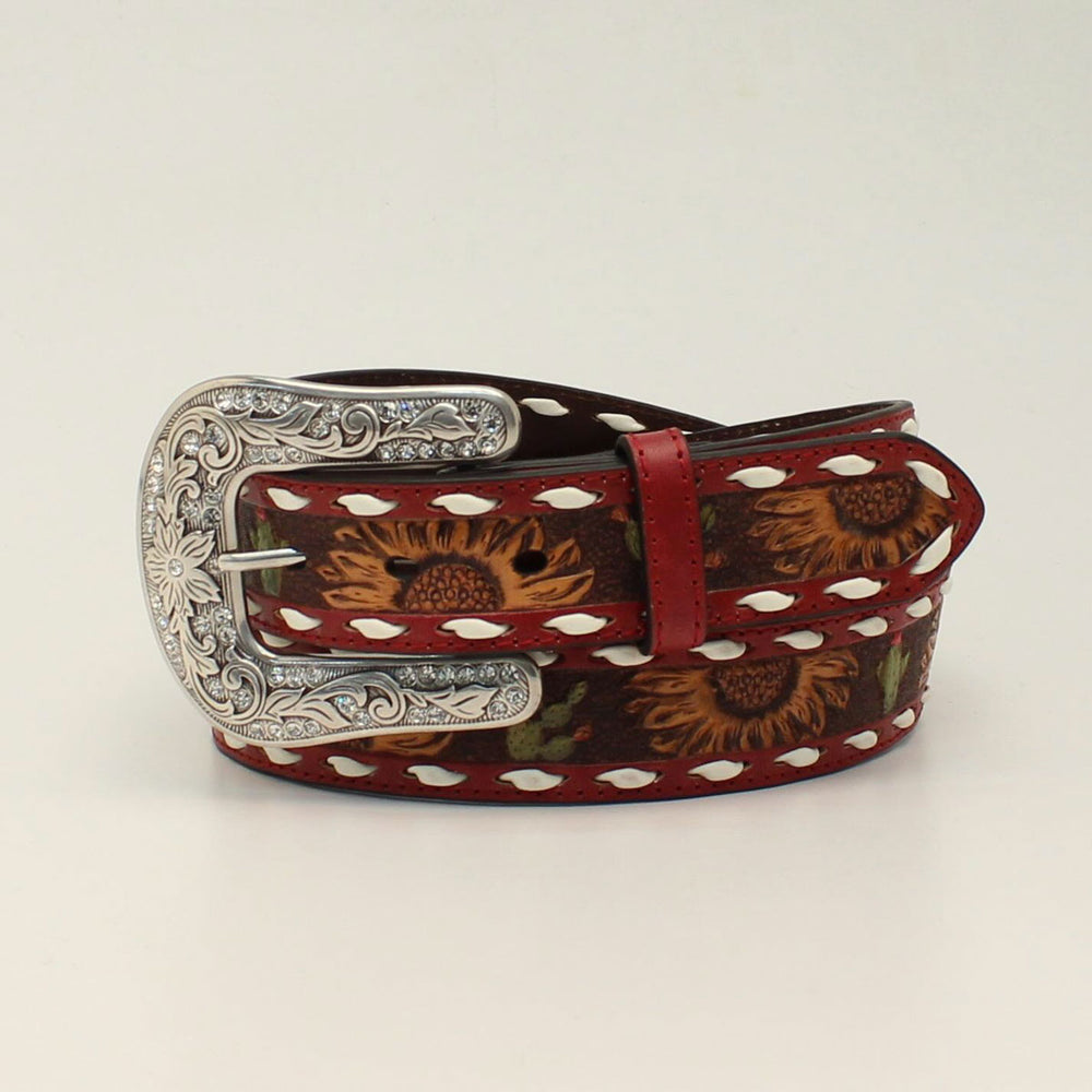 Angel Ranch Women's 1 1/2 Sunflower Cactus Red Western Belt D140001104