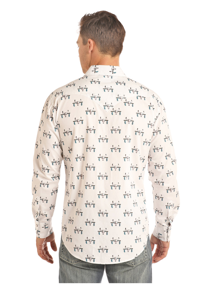 Rock & Roll Cowboy Men's White Steer Skull Print Snap Up Western Shirt B2S2312 - Painted Cowgirl Western Store
