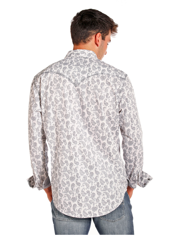 Rock & Roll Cowboy Mens White Grey Vintage Paisley Snap Up Western Shirt b2s5714