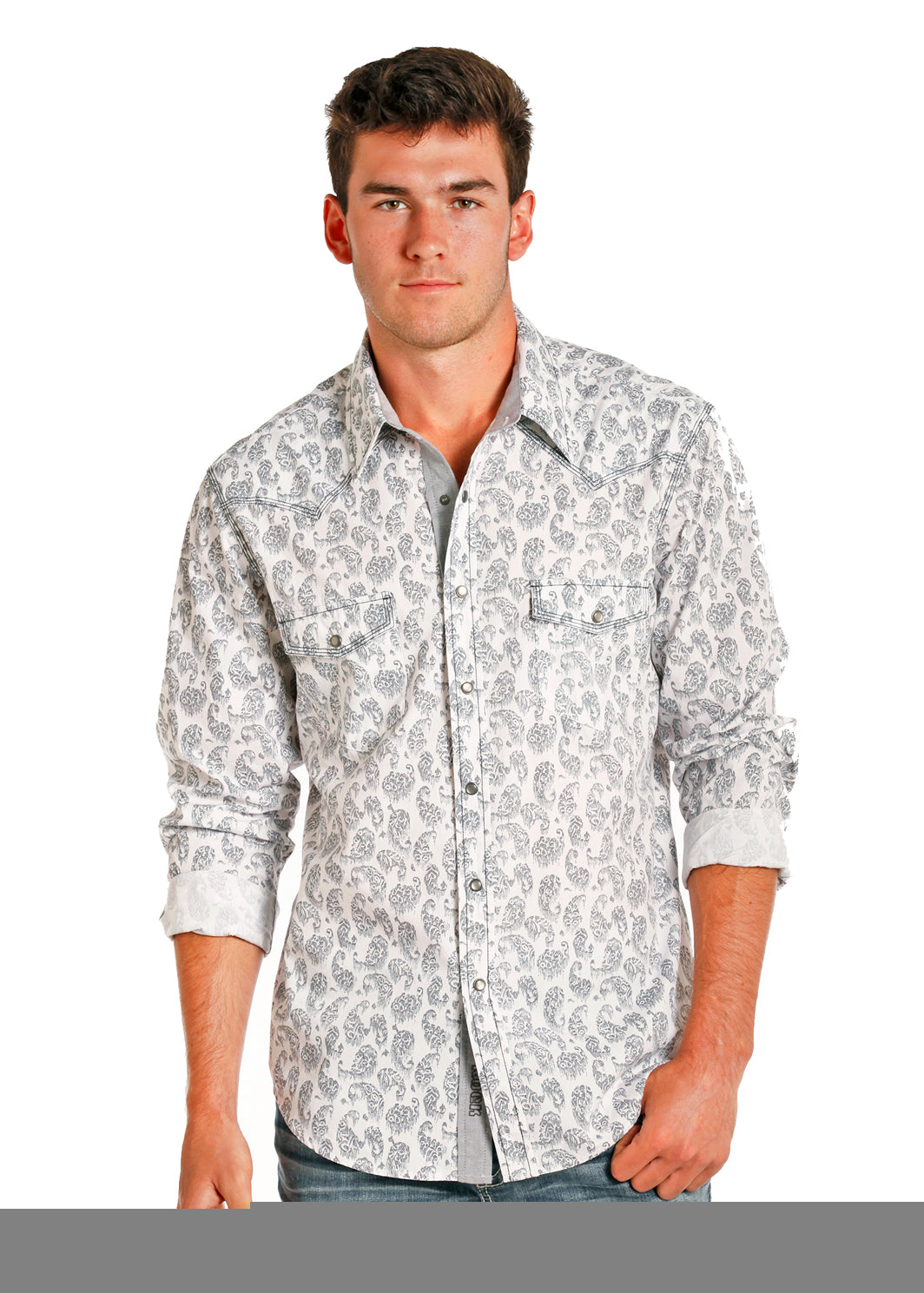 Rock Roll Cowboy Mens White Grey Vintage Paisley Snap Up