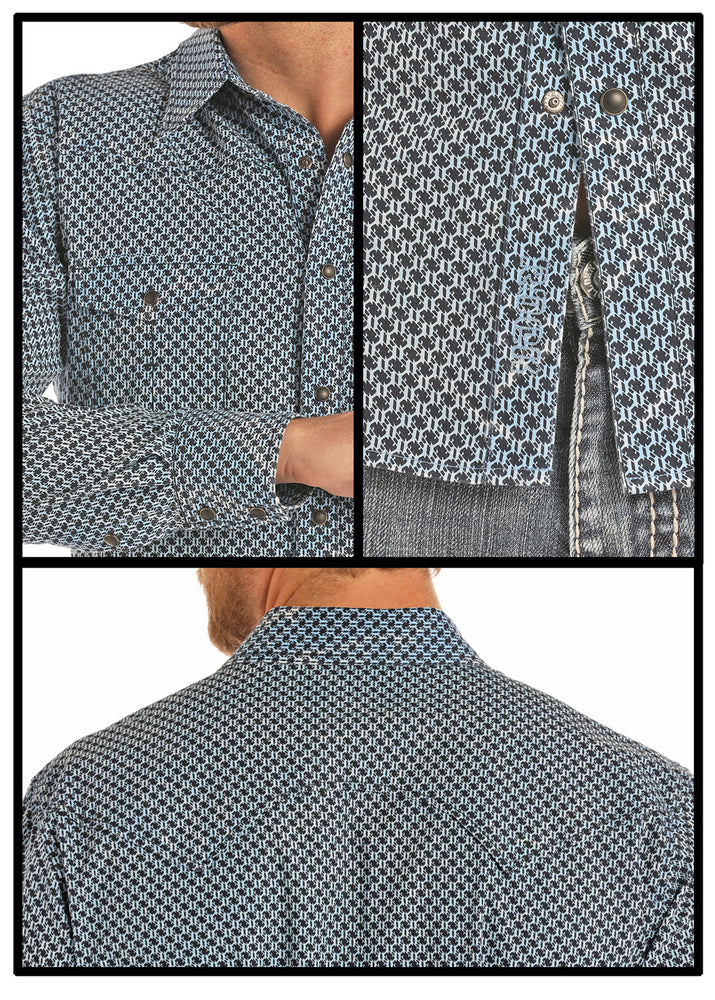 Rock & Roll Cowboy Men's Turquoise & Navy Printed Snap Up Shirt B2S9109