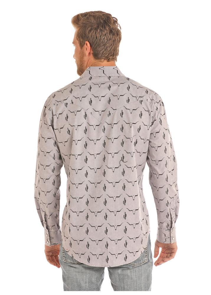 Load image into Gallery viewer, Rock & Roll Cowboy Men's Grey Steer Skull & Cactus Snap Up Western Shirt B2S9125