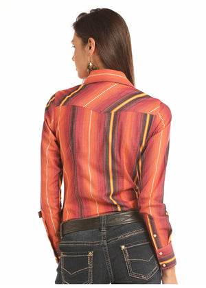 Rock & Roll Cowgirl Juniors Orange Serape Snap Up Western Shirt B4S2604