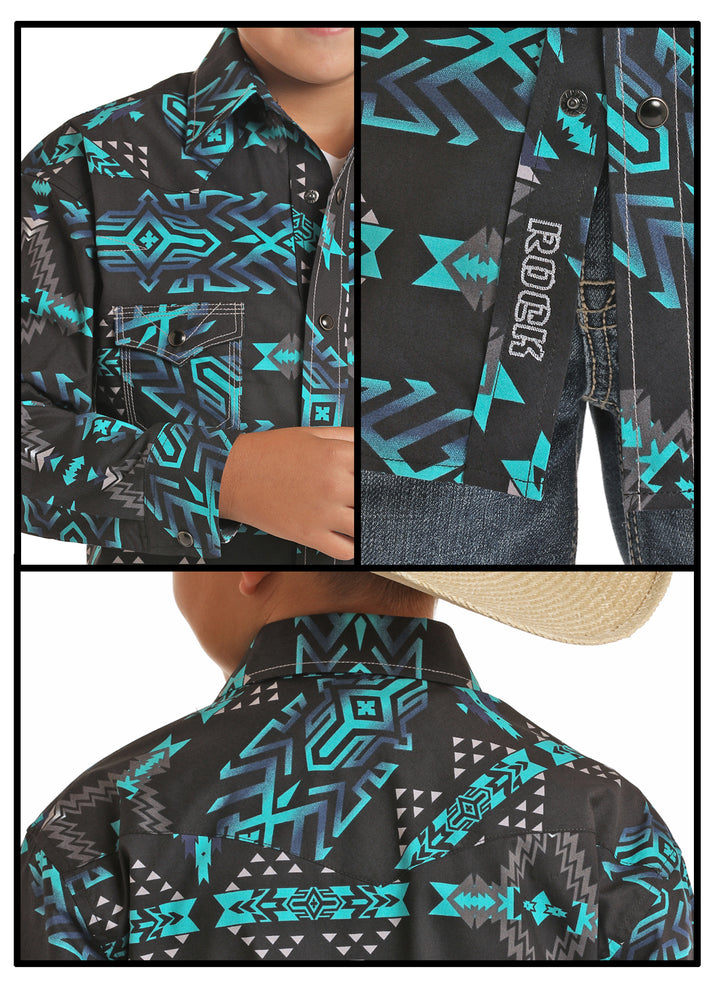 Rock & Roll Cowboy Boy's Black Teal & Navy Aztec Snap Up Shirt B8S5090 - Painted Cowgirl Western Store