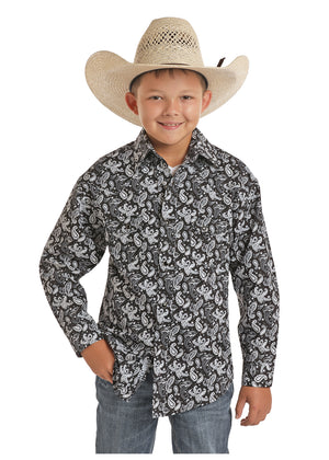 Rock & Roll Cowboy Boys Black & White Paisley Snap Up Shirt B8S5092 - Painted Cowgirl Western Store
