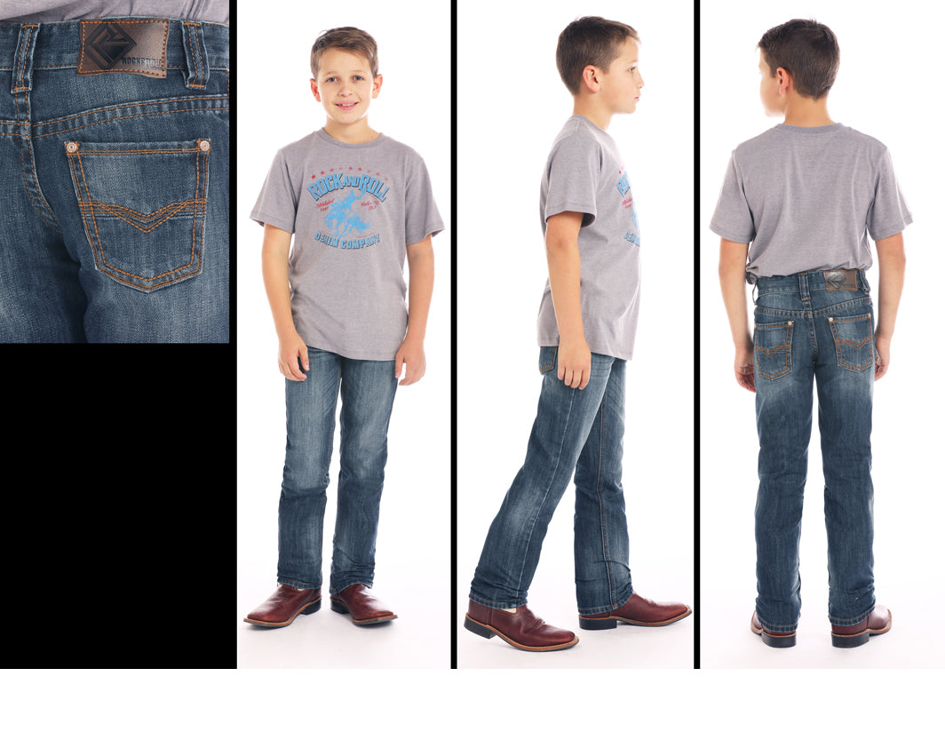 bc17e1816 Rock & Roll Cowboy Boys Dark Wash Regular Fit Bootcut Jeans BBS1072 | Cowboy  Boots and Western Clothing | Painted Cowgirl Western Store