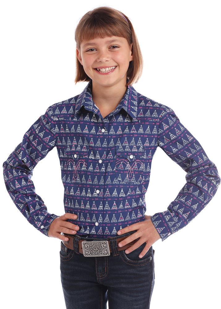 Panhandle Slim Girls Purple Teepee Print Snap Up Western Shirt C6S2957 - Painted Cowgirl Western Store