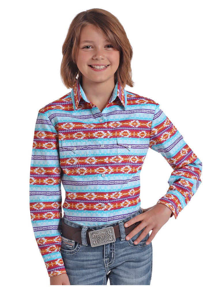 Panhandle Slim Girls Multi Color Aztec Print Snap Up Western Shirt C6S5463 - Painted Cowgirl Western Store