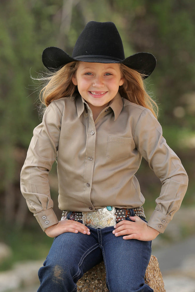 Cruel Girl Girls Khaki Button Up Western Shirt CTW6640005 - Painted Cowgirl Western Store