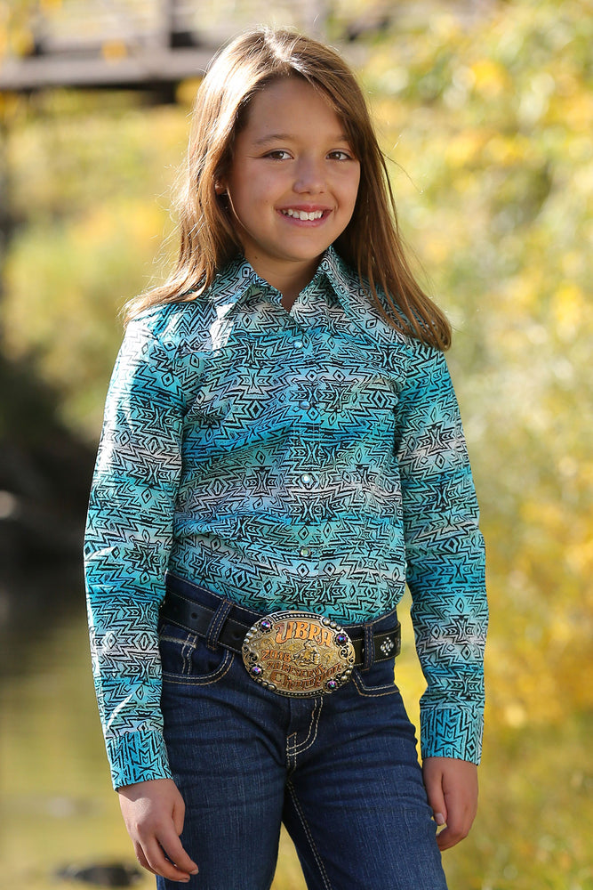 Cruel Girl Girls Turquoise Ombre Aztec Snap Up Shirt CTW8040001 CTW3222002