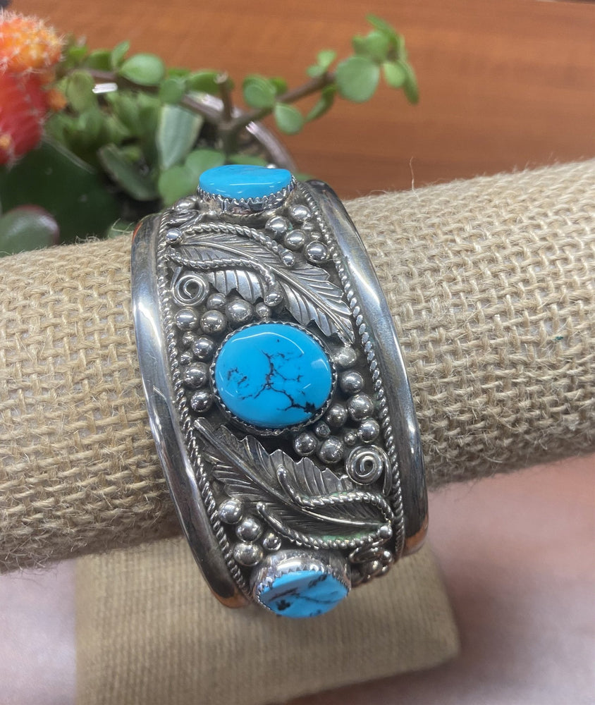 Thunderbird Jewelry Sterling Silver Feather & 5 Stone Turquoise Cuff Bracelet MB1009T