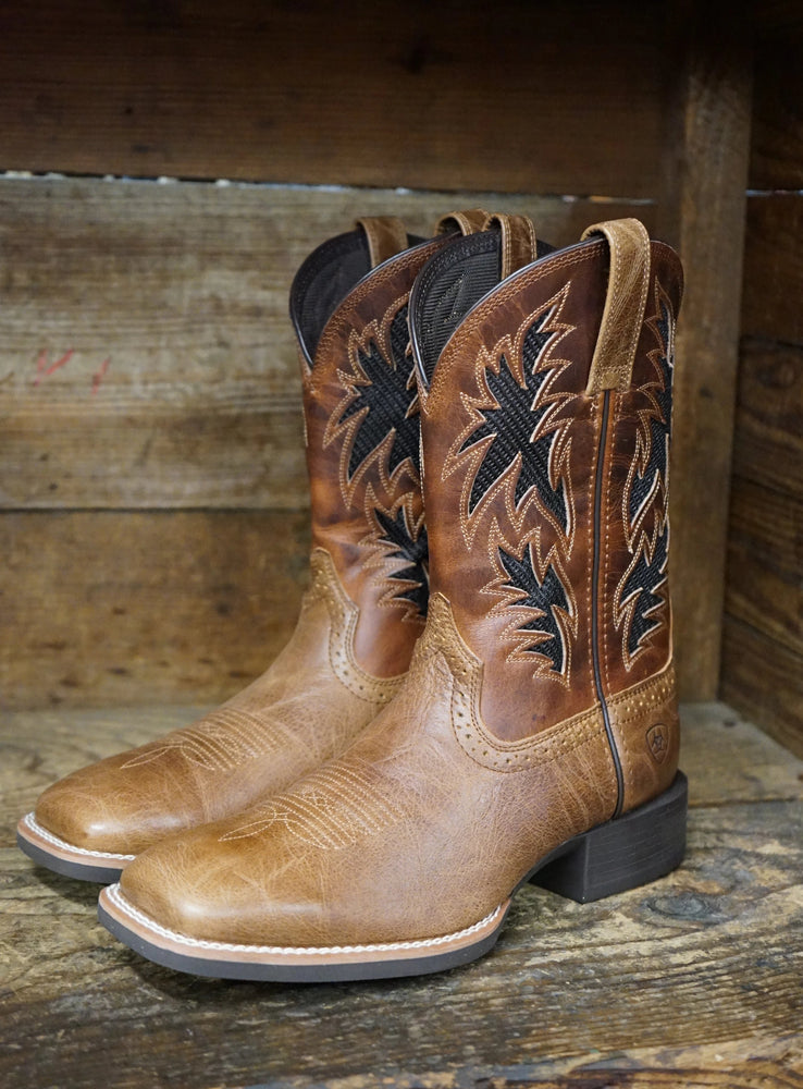 Ariat Men's Sport Cool VentTEK Dark Tan & Two Toned Tan Square Toe Boots 10031446 - Painted Cowgirl Western Store
