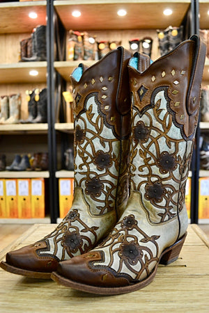 Corral Ladies Mint Maple Flower Overlay and Studs Cowgirl Boots C3176 SALE!
