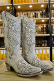 Corral Ladies White Glitter Inlay And Crystals Wedding Boots A3322